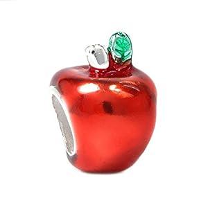 Sterling Silver Cute Teacher's Red Apple Enamel Bead Charm For European Jewelry