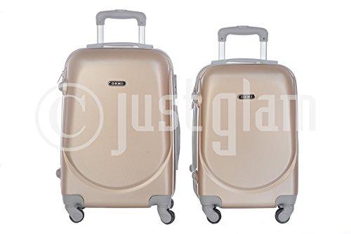 JustGlam - Set 2 bagagli trolley a mano da cabina rigidi in abs 4 ruote piroettanti adatti voli lowcost mis. 50 e 55 / coppia2010champagne