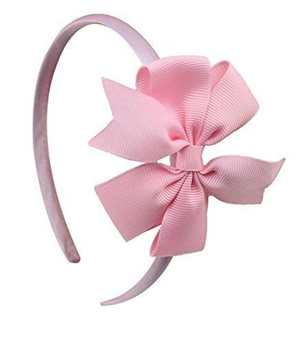 PinkXenia Grosgrain Satin Ribbon Bow BabyGirl Light Pink Headband