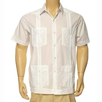 Men's guayabera polycotton short sleeve