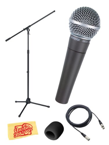 Shure Sm58-Lc Vocal Microphone Bundle With Boom Stand, 20-Foot Xlr Cable, Windscreen, And Polishing Cloth