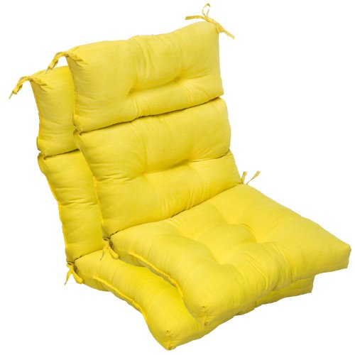 Greendale Home Fashions Indoor/Outdoor Seat/Back Chair Cushions, Sunbeam Yellow, Set Of 2