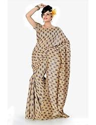 Designersareez Women Bhagalpuri Silk Printed Beige Saree With Unstitched Blouse(841)