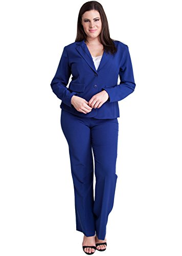Woman Royal Plus Size Long Sleeve 2 Button Blazer Straight Leg Pant Suit Set