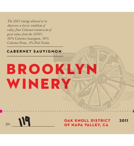 2011 Brooklyn Winery Napa Valley Cabernet Sauvignon 750 Ml