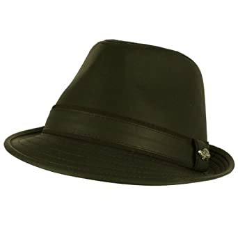 Men's Winter Classic Faux Leather Distress Fedora Trilby Gangster Hat Black L/XL