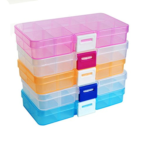 FinalZ 10 Grid Plastic Adjustable Jewelry Box Jewelry Storage Organizer Containers Jewelry Organizer Box with Removable Dividers (4 pcs Random Color)