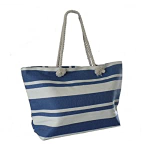 New England BLUE Striped Shopping Shoulder Bag