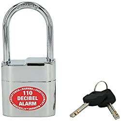 Lock Alarm USA - Anti Theft Alarm Siren Padlock with Shock Sensor for Home, Office, Shop - Hardened Metal, Drill Proof, Weatherproof & Ice Spray proof (110 dB) - European Standards & No False Alarm, Branded