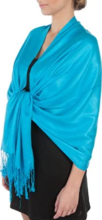 """78 x 28"""" Silky Soft Solid Pashmina Shawl / Wrap / Stole - Turquoise"""""""