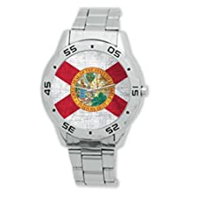 buy New Year Gifts Vintage Florida Flag State Analogue Stainless Steel Men'S Watch