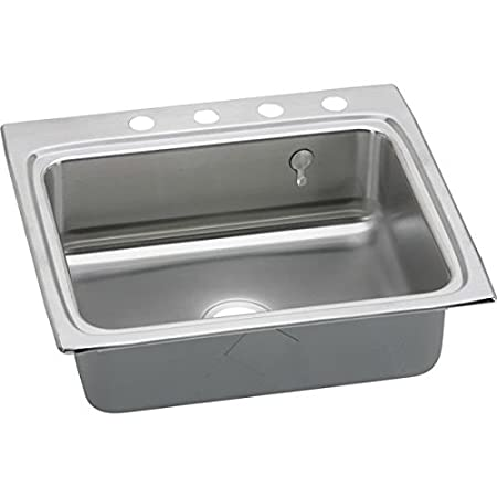 "Elkay LR2522EK4 18 Gauge Stainless Steel Single Bowl Top Mount Kitchen Sink Kit with 4 Hole & Edock Hook, 25"" x 22"" x 8.125"""