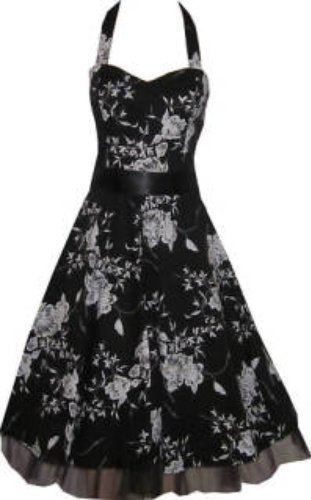 Pretty Kitty Fashion Black White Floral Evening