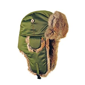 Mad Bomber Supplex Bomber Hat with Brown Fur, Olive, X-Large