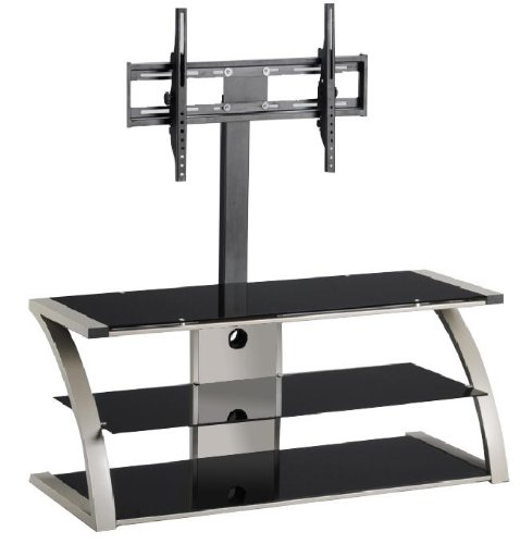 Home Source Industries TV11242 Modern TV Stand with Mount and Shelving for Components, Black/Chrome picture B004Y3GX6O.jpg