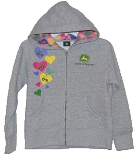 John Deere Girls' Zip Fleece - Hearts/Tractor (Small (4))
