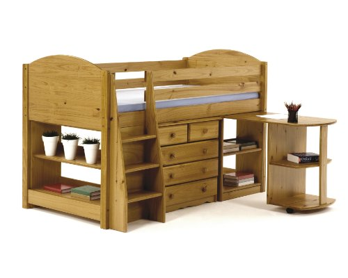 Childrens Pine Mid Sleeper Bed Set Single 3ft with Pull out Desk, Chest of Drawers & Bookcase & Drinks Shelf- Our Top Selling Set - by Verona Design
