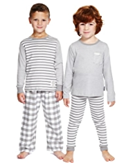 2 Pack Autograph Supersoft Pure Cotton Gingham Checked Pyjamas