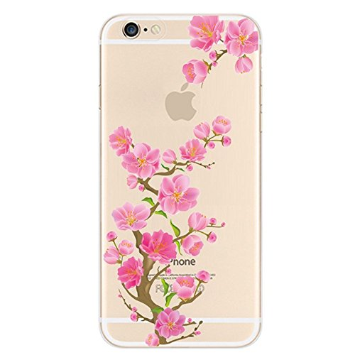 Custodia iPhone 5S, Cover iPhone 5, Kakashop Ultra Slim sottile molle del silicone TPU Trasparente Cristallo Cover per Apple iPhone 5 5S (Peach Blossom)