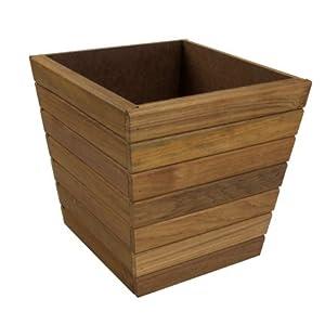 Teak Waste Basket: Small