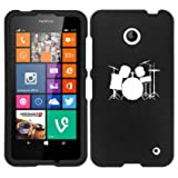 Nokia Lumia 630 635 Snap On 2 Piece Rubber Hard Case Cover Drum Set Black