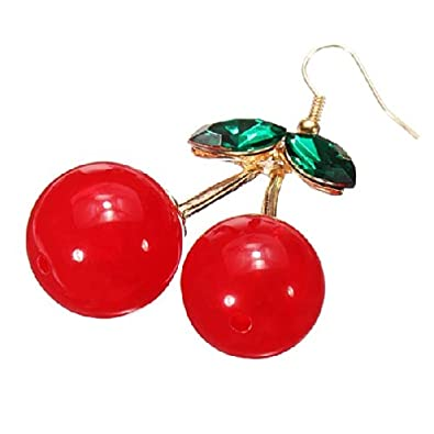 Fashion Femmes Poire rouge grenat cristal or jaune rempli Dangle Boucles d/'oreilles 1.0/""