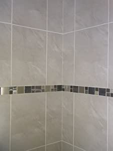 Excellent  Counterpoint To The Subway Tile And The Border Color Scheme The Insertion Of The Smaller, Geometric Penny Tile Enlivens The Stark White Of The Bathroom Painting The Upper Onethird Of The Wall Soft Gray Against A White Ceiling