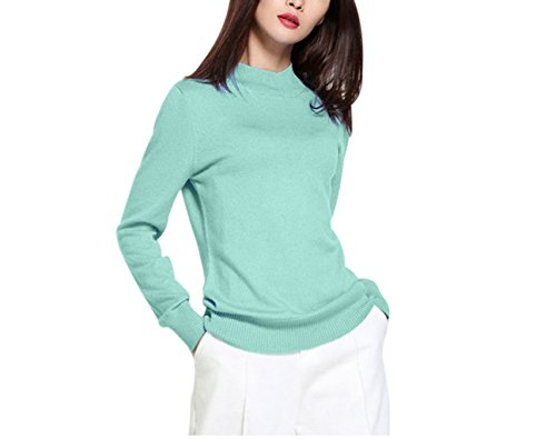 Women's Cashmere Long Sleeve Pullover Turtleneck Sweater Small Green