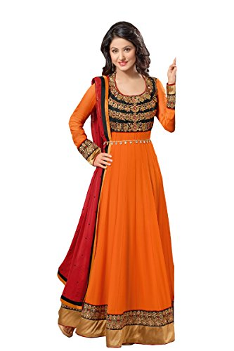 fabboom da donna Hina Khan a pavimento lunghezza Anarkali Suit Orange Taglia unica