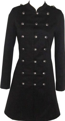 Victorian Black Gothic Military Long SteamPunk Indie Jacket Coat XS 8