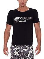 Rivaldi Camiseta Manga Corta Mhenti (Negro / Plateado)