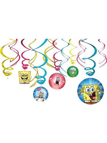 Amscan Unisex Adult SpongeBob Hanging Swirl Value Pack Multi-colored Medium