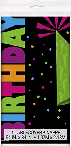 Neon Birthday Party Plastic Tablecloth, 7ft x 4.5ft