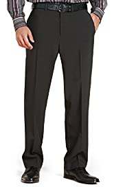 Straight Leg Flat Front Plain Trousers