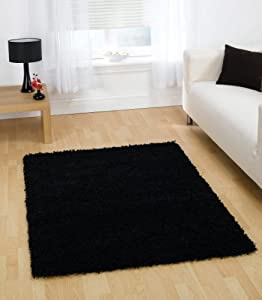 """Quality Shaggy Rug in Black 80 x 150 cm (2'7"""" x 5') Carpet from Lord of Rugs"""