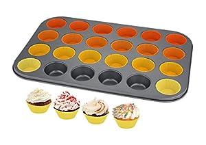 Cucina Vita 24 Cup Silicone Muffin & Cupcake Baking Pan- Non Stick Silicone Mold- BPA-Free Reusable Bakeware
