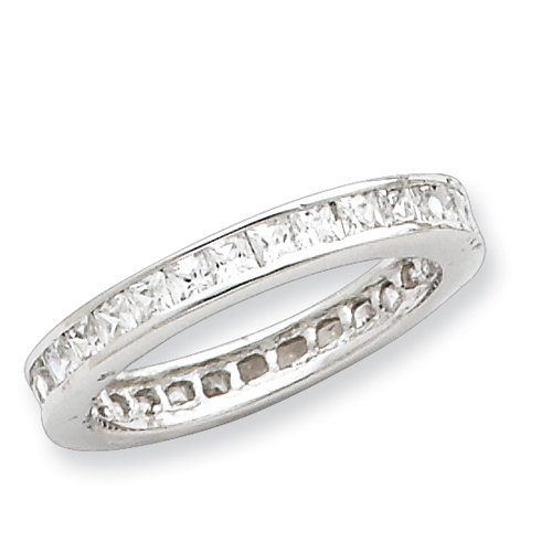 Sterling Silver CZ Eternity Band Ring Size 6