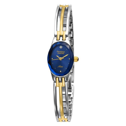 Armitron Women's 752641BLU NOW Diamond Accented Two-Tone Bangle Blue Dial Dress Watch