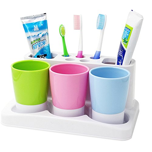 Tonze Plastic Bathroom Toothbrush Tooth Paste Stand Holder Storage Rack Box Set