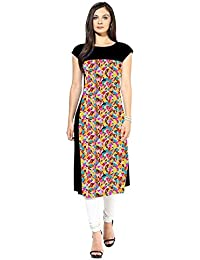 Binny Creation Multi Color Crepe Half Sleeve Round Neck Printed Kurta