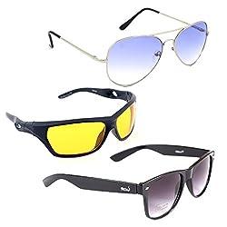Elligator Stylish Aviator Silver Blue And Nightvision Yellow With Black Wayfarer Sunglasses Combo ( Set of 3 )