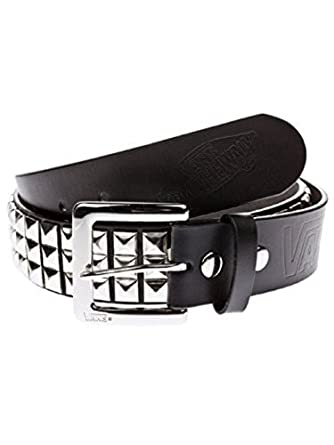 Vans Men's Studded Leather EU Belt, Black (Black/Silver), Small