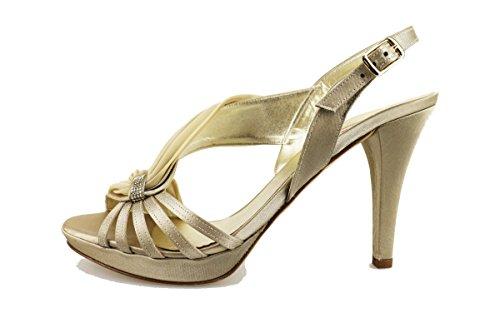 MELLUSO 38 EU sandali donna beige raso platino AG302