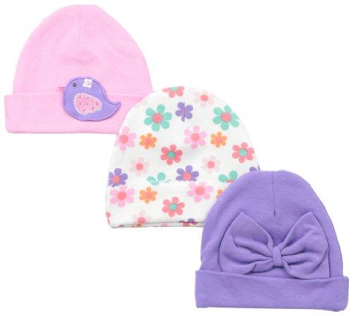 Lamaze Baby-Girls Newborn Girls 3 Pack Interlock Cap, Flowers, 0-6 Months