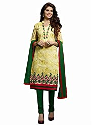 DnVeens Women's Chanderi Multi Embroidered And Embellished Unstitched Dress Material