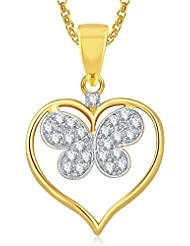 Meenaz Gold Plated Heart Pendant With Chain For Girls And Women PS381