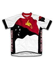 Papua New Guinea Flag Short Sleeve Cycling Jersey for Women