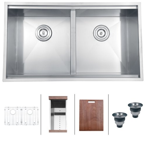 "Cheap Ruvati RVH8350 Undermount 16 Gauge 33"" Kitchen Sink Double Bowl"