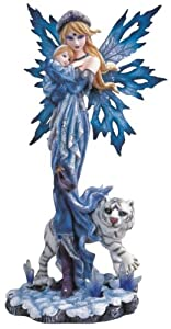 Blue Fairy With Baby And White Tiger Collectible Figurine Decoration