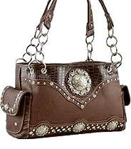 Montana West Handbag Concho Croc Print Shoulder Bag Purse - BROWN